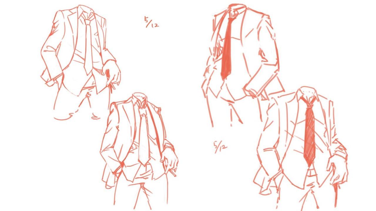 シャツ・スーツ・身体の描き方考察2