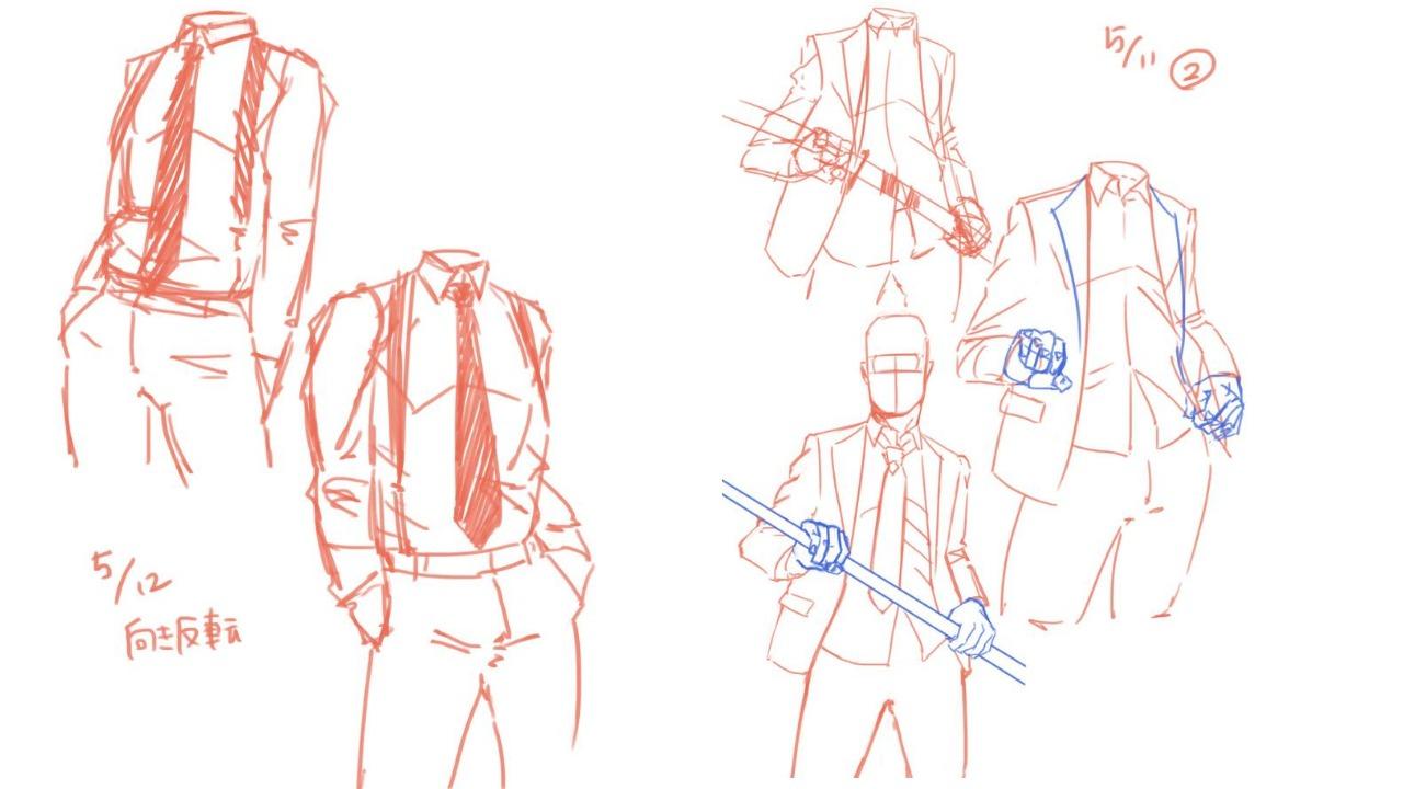 シャツ・スーツ・身体の描き方考察3