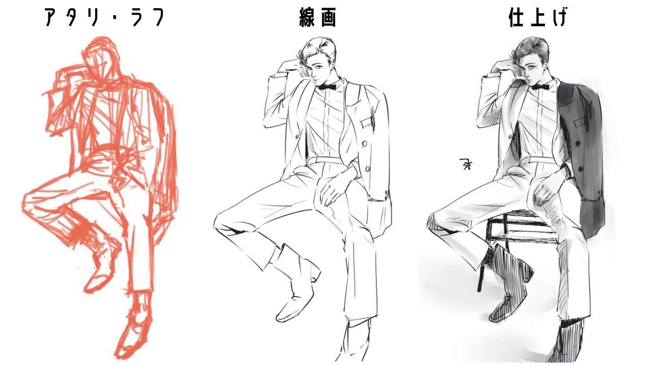 模写:アタリ(ラフ)を描く、線画を描く、仕上げの順
